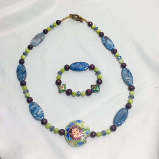 Cloisonne, Agate, Pearl, Shell and Crystal Bracelet and Necklace Set