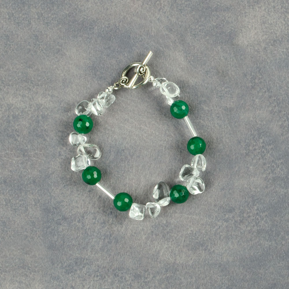Bracelet mad with Crystals and Green Jade