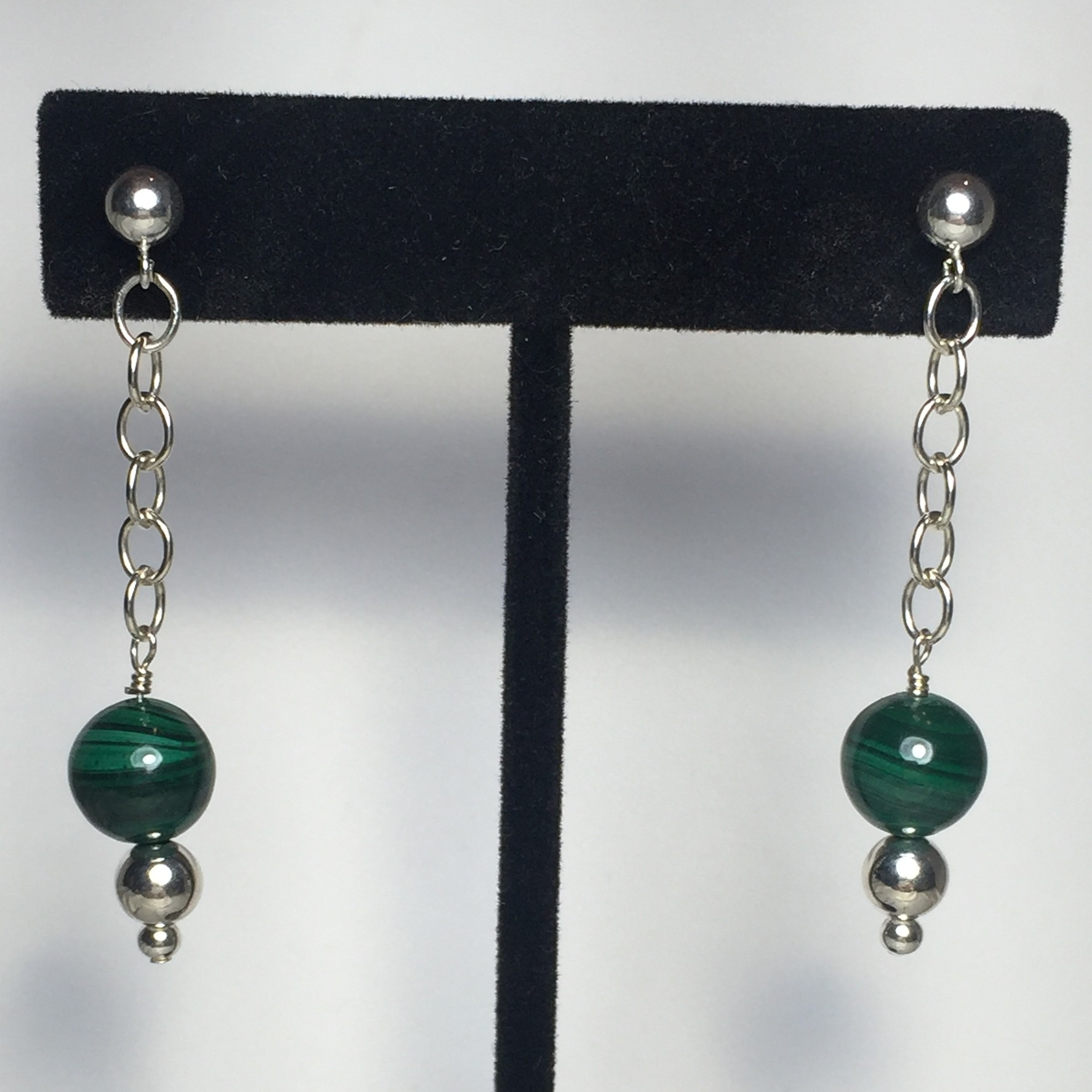 Chain errangs made with Malachite, Amethyst, Peridot, Smokey Quartz, and Sterling Silver
