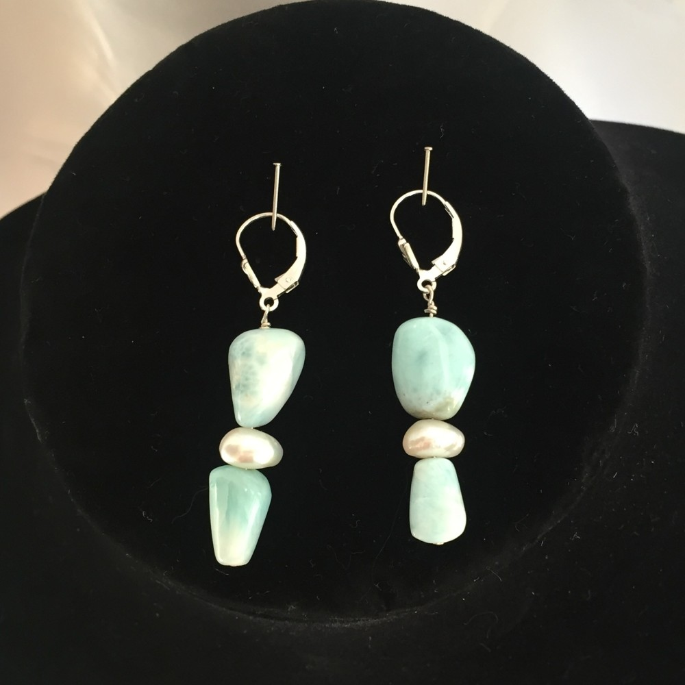 Earrings made with Larimar, Amethyst, Aquamarine, Pearl and Silver