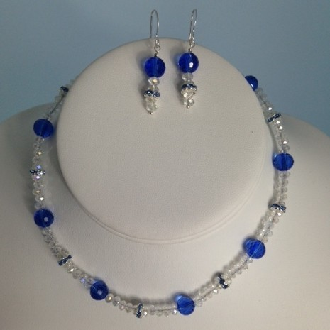 Crystal and Silver Plate Necklace and Earrings Set for Children