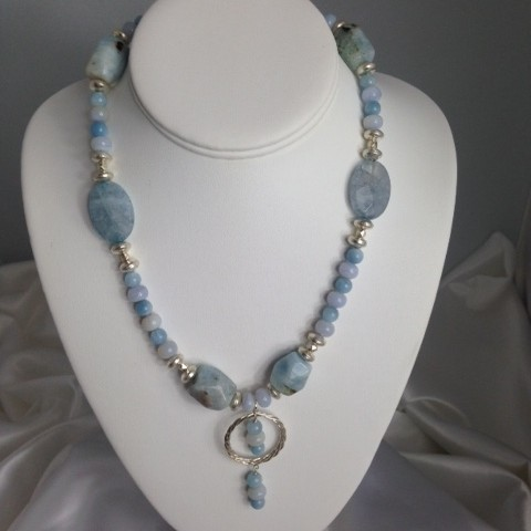 Necklace made with Aquamarine, Chalcedony and Sterling Silver