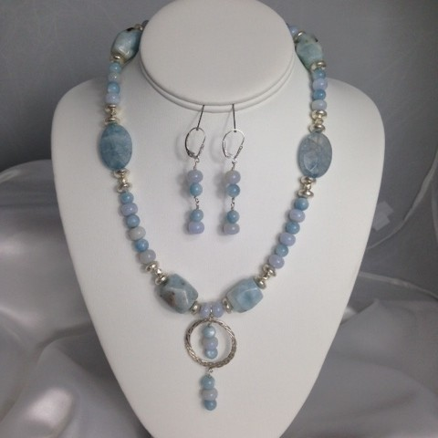Set made with Aquamarine, Chalcedony, and Sterling Silver