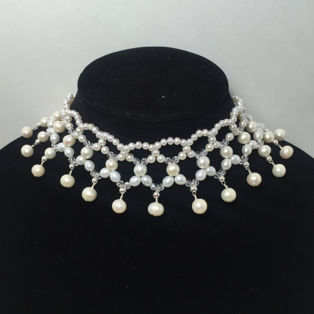 Freshwater Pearls and Swarovski Crystal Collar Necklace