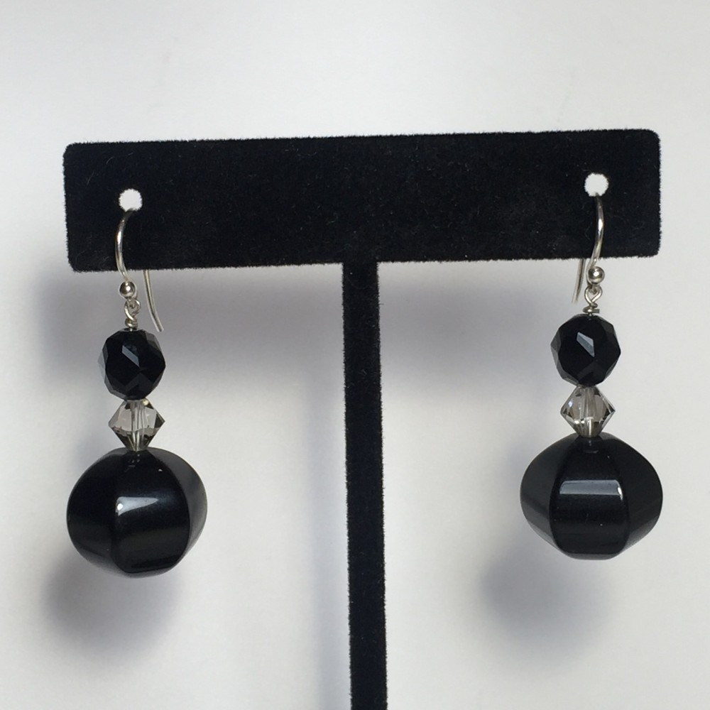 Earrings made with Onyx (Black) and Sterling Silver