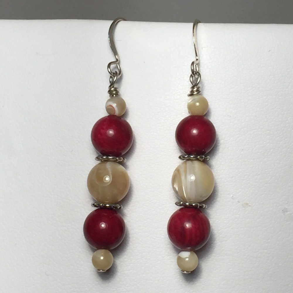 Earrings made with Shell and Coral