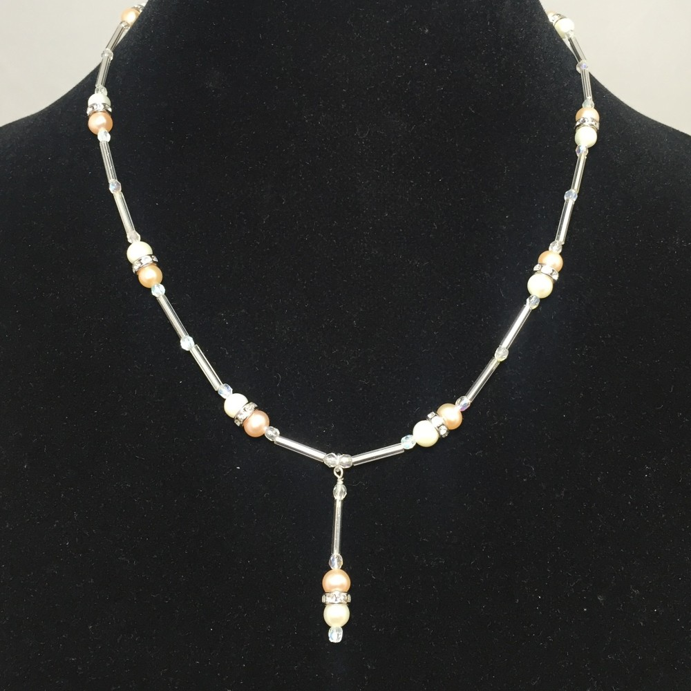 Pearls, Crystals and Silver Plate Necklace
