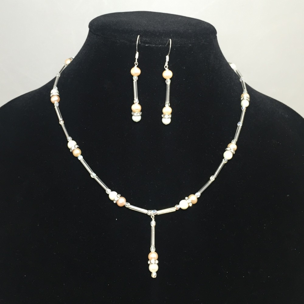 Pearls, Crystals and Silver Plate Necklace and Earring Set