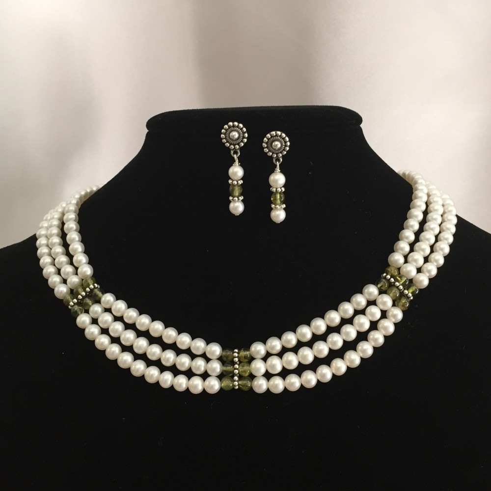 Freshwater pearls, Peridot, Sterling Silver Necklace and Earrings