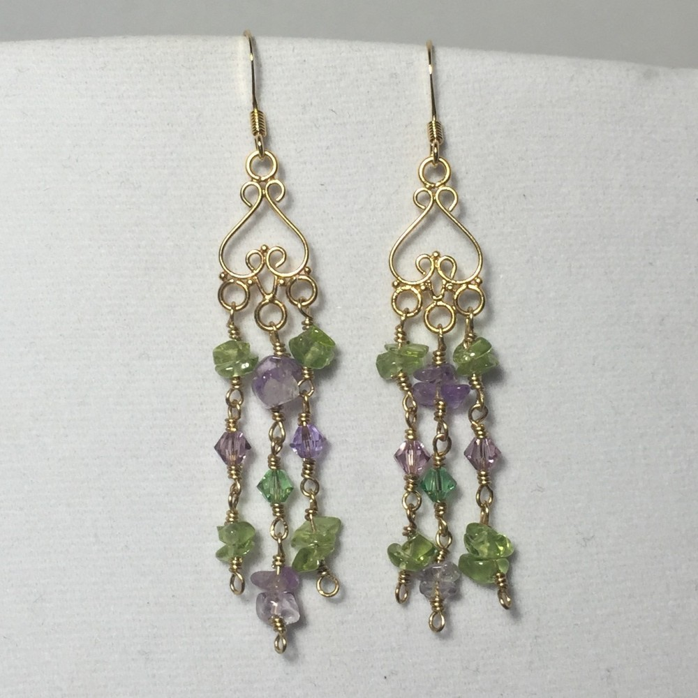 Amethyst, Peridot and Swarovski Crystals earrings