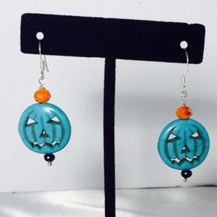 Silver Plate, Howlite and Crystal Earrings