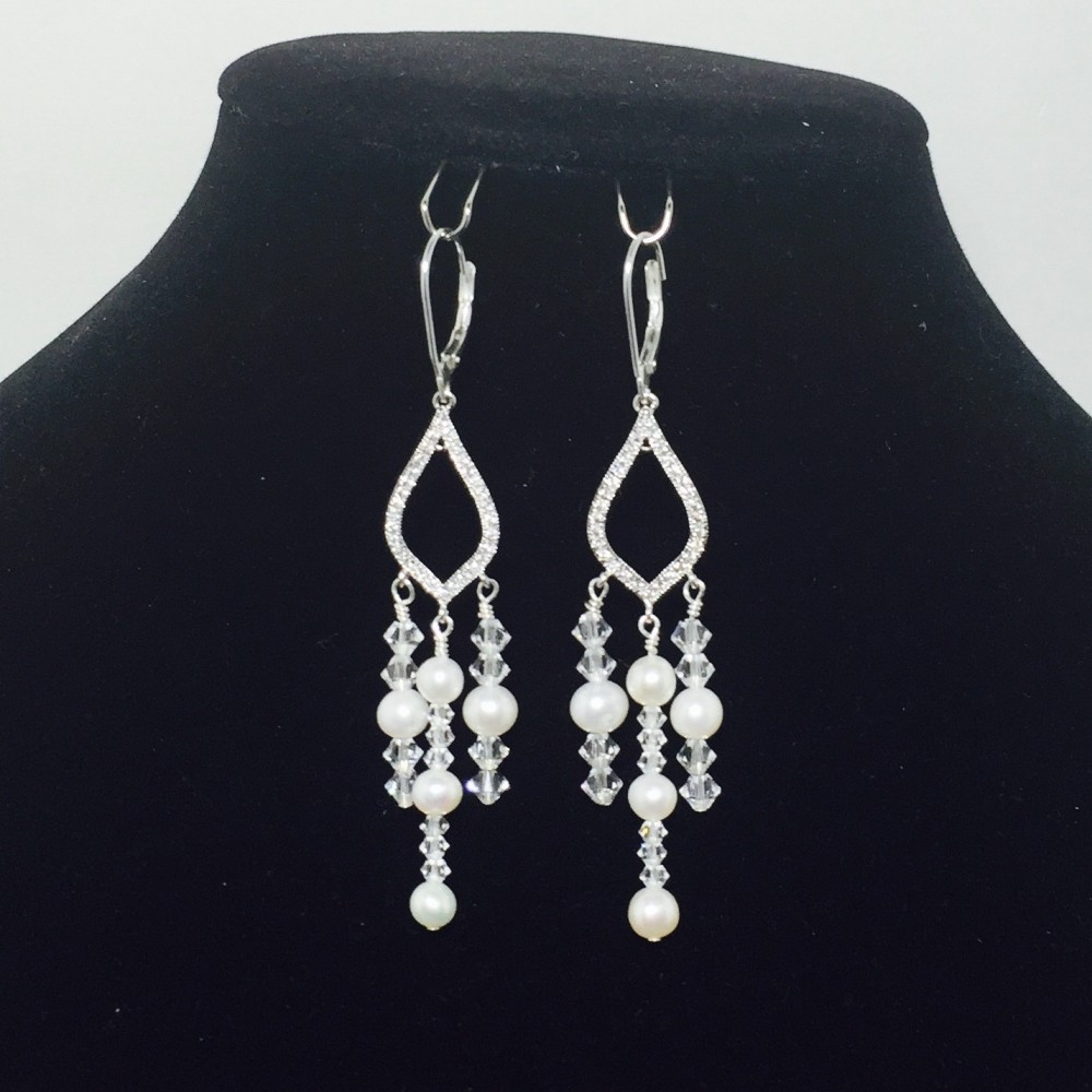 Fresh Water Pearls, Swarovski Crystal and Sterling Silver Earrings