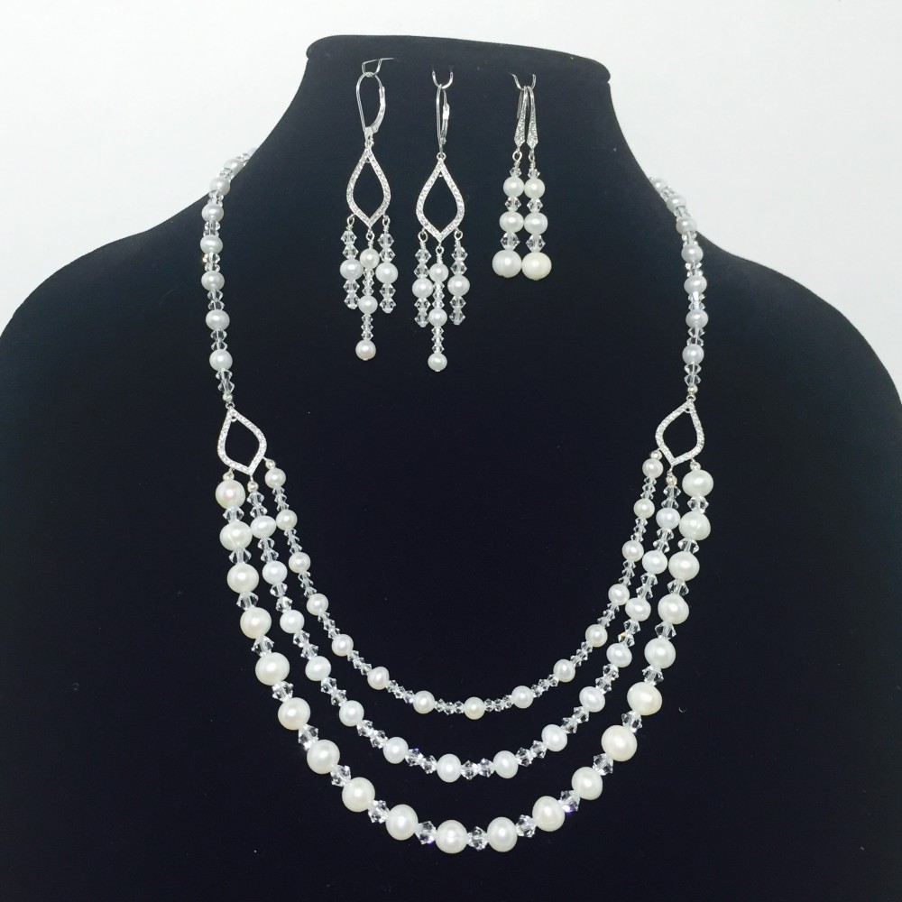 Fresh Water Pearls, Swarovski Crystal and Sterling Silver Necklace and Earrings Set