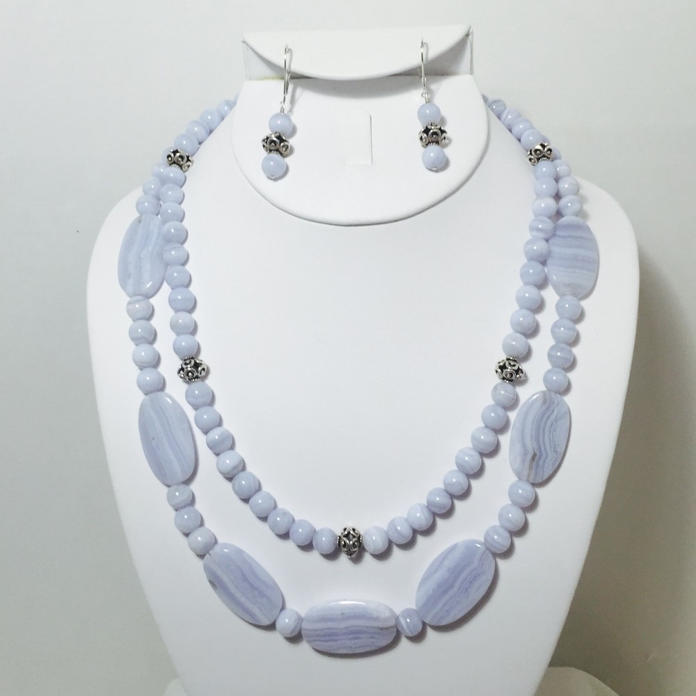 Blue Lace Agate and Sterling Silver Necklace and Earrings Set