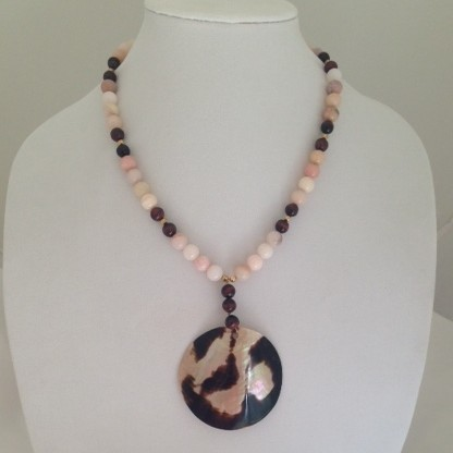 Pink Opals, red Tiger Eye and Shell necklace