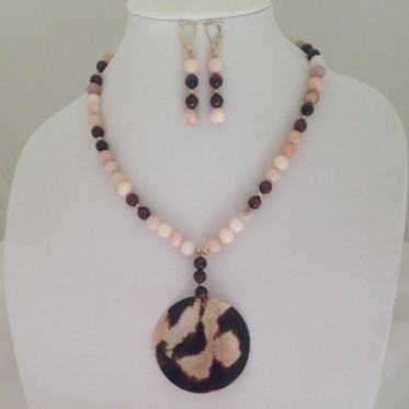 Pink Opals, red Tiger Eye and Shell necklace and earring set