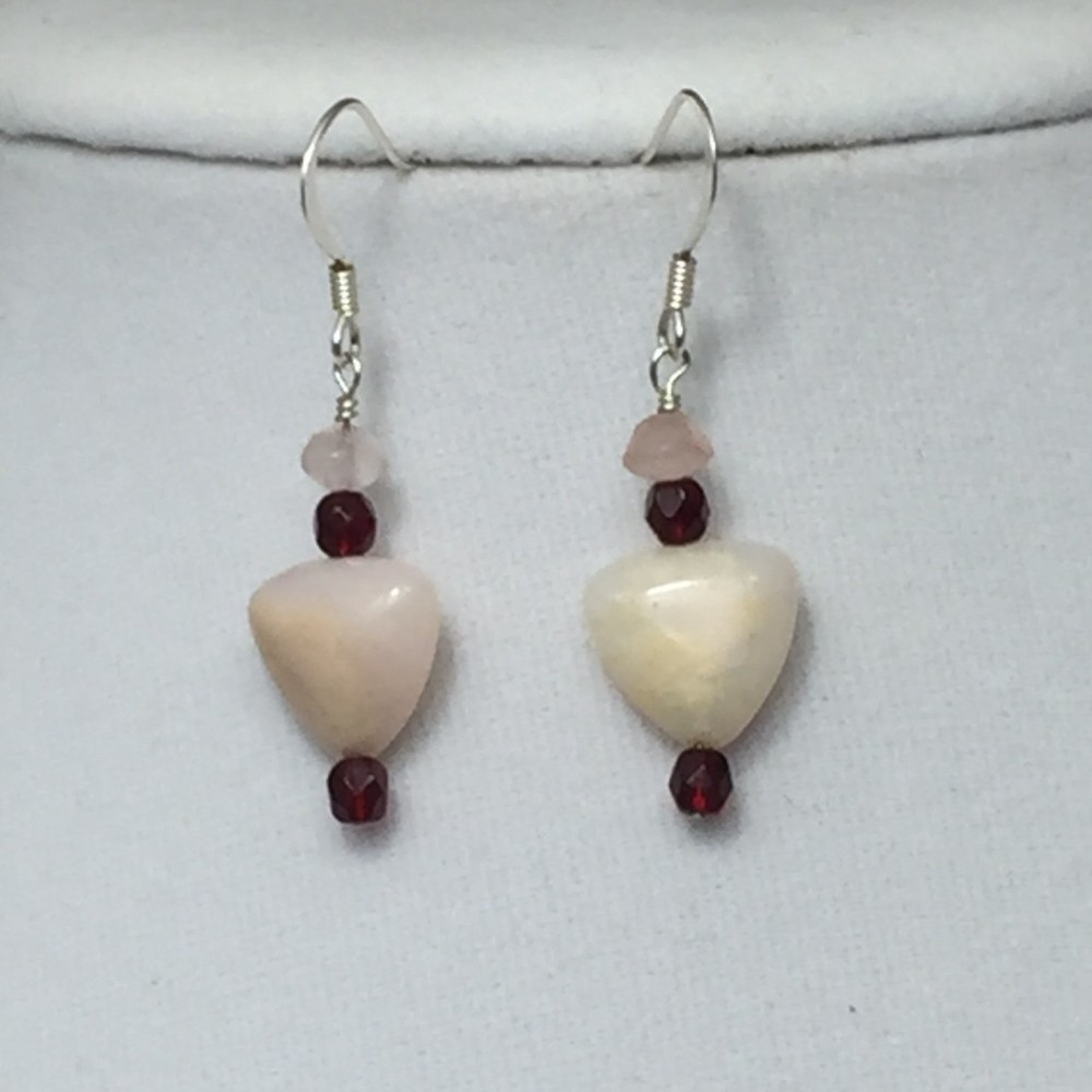 Rose Quartz and Crystals Heart Earrings Set