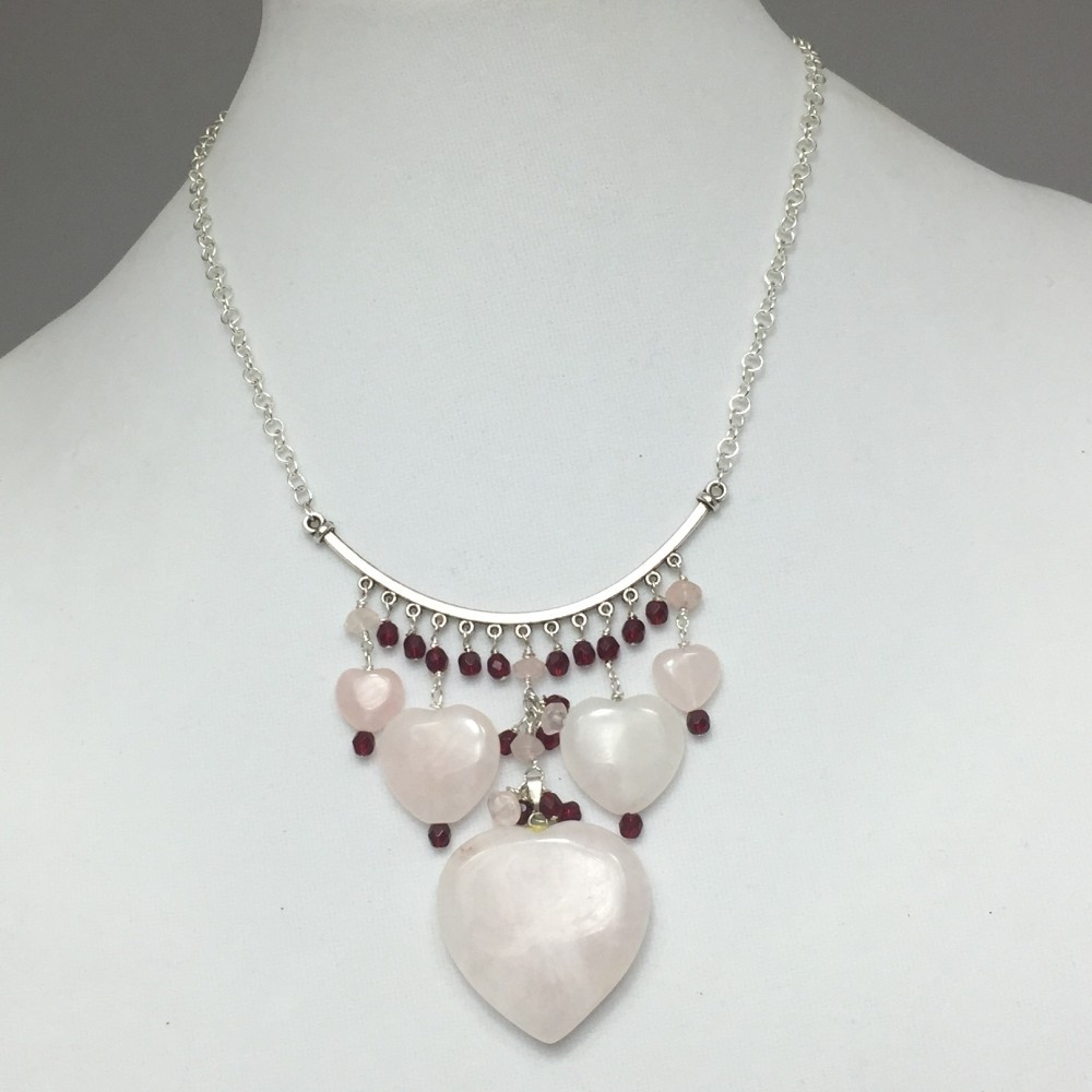 Rose Quartz and Crystals Heart Necklace