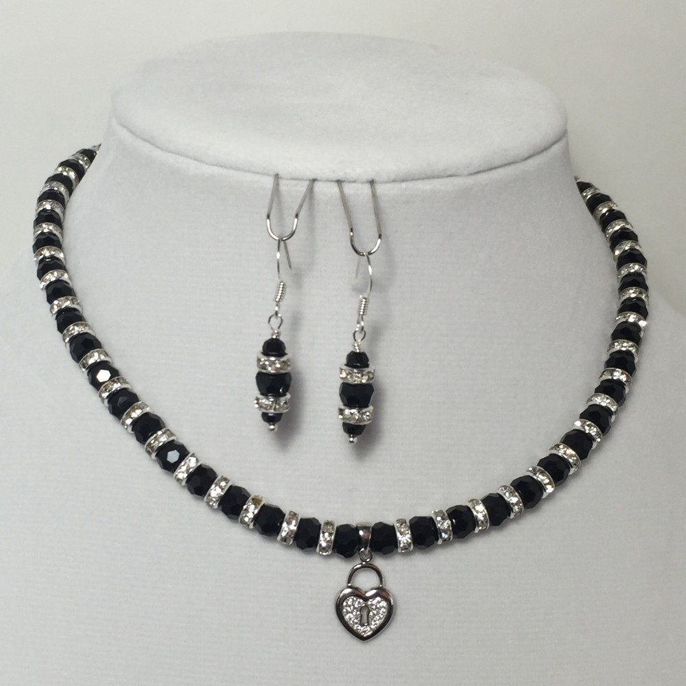 Black and Silver Crystals Necklace and Earrings Teen Set