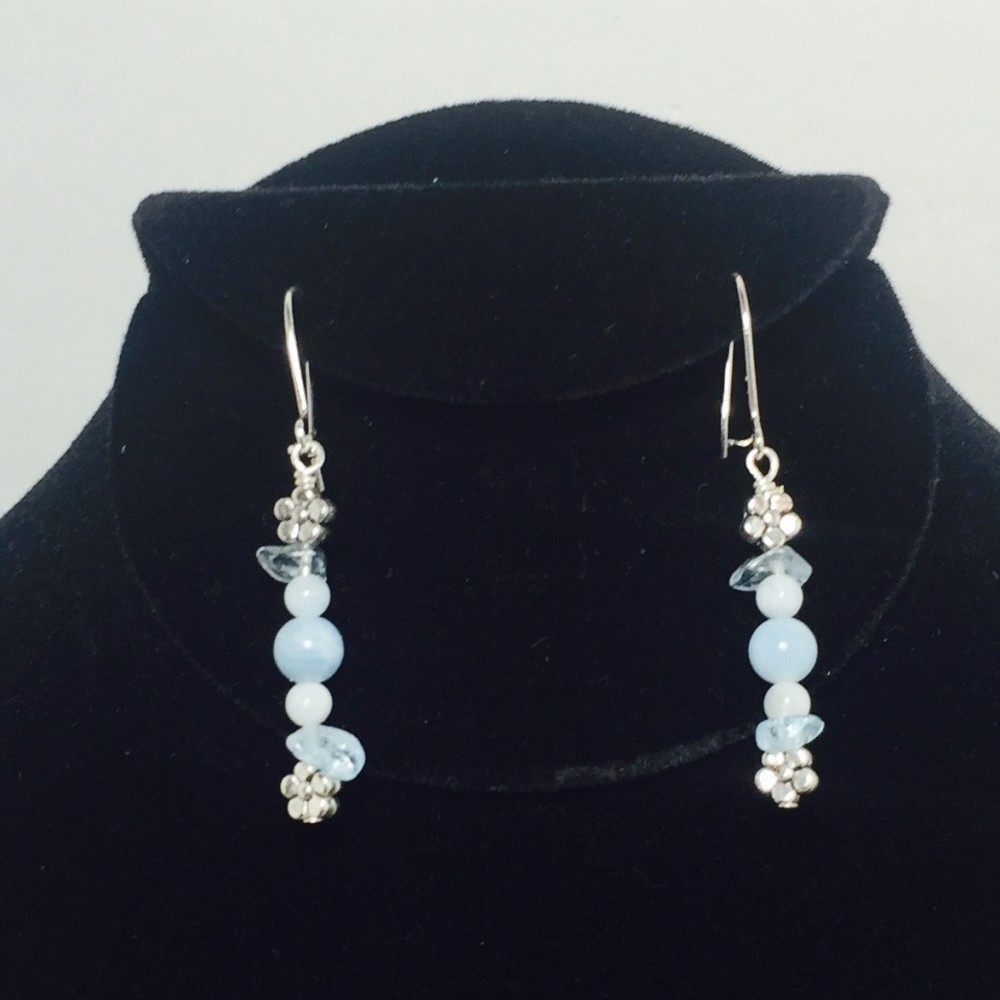 Aquamarine and Silver Plate Earrings