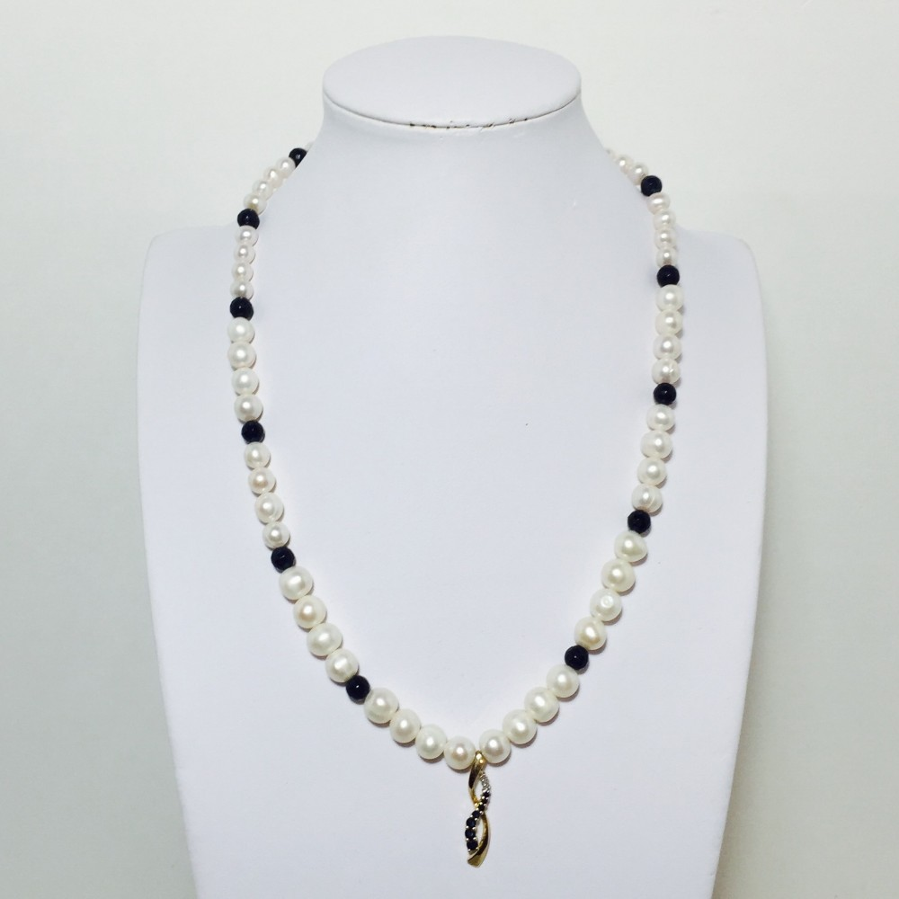 Sapphire Quartz, Diamond and Pearl Necklace