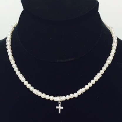 Pearl, Swarovski Crystal and Sterling Silver Cross Necklace
