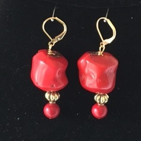 Coral and Gold Plate Earrings