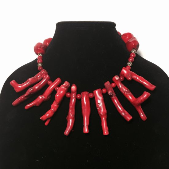 Coral and Gold Plate Necklace