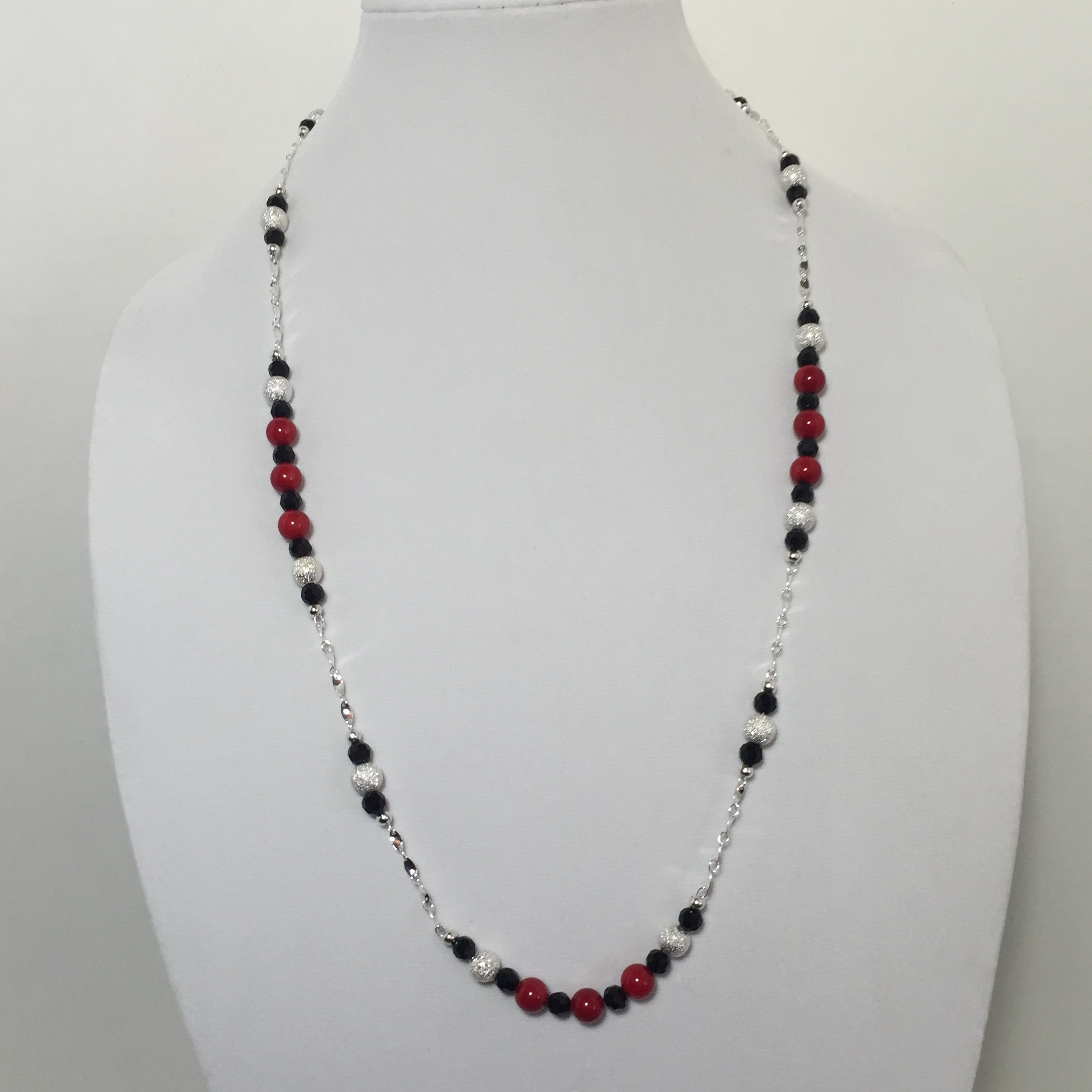 Coral, Crystal and Silver Necklace