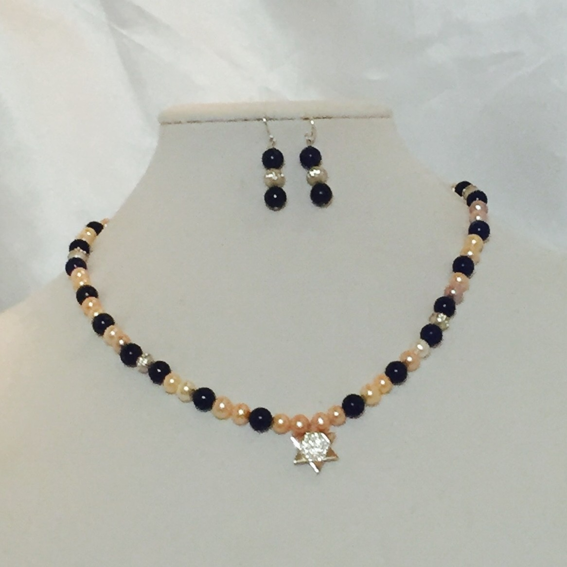 pearls, Lapis Star of David Necklace and Earrings Set