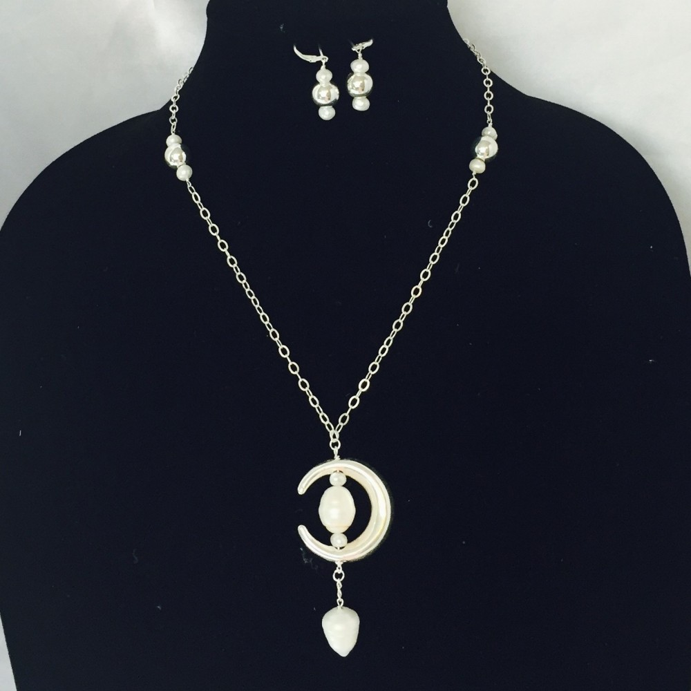 Pearl and Sterling Silver Necklace and Earrings Set