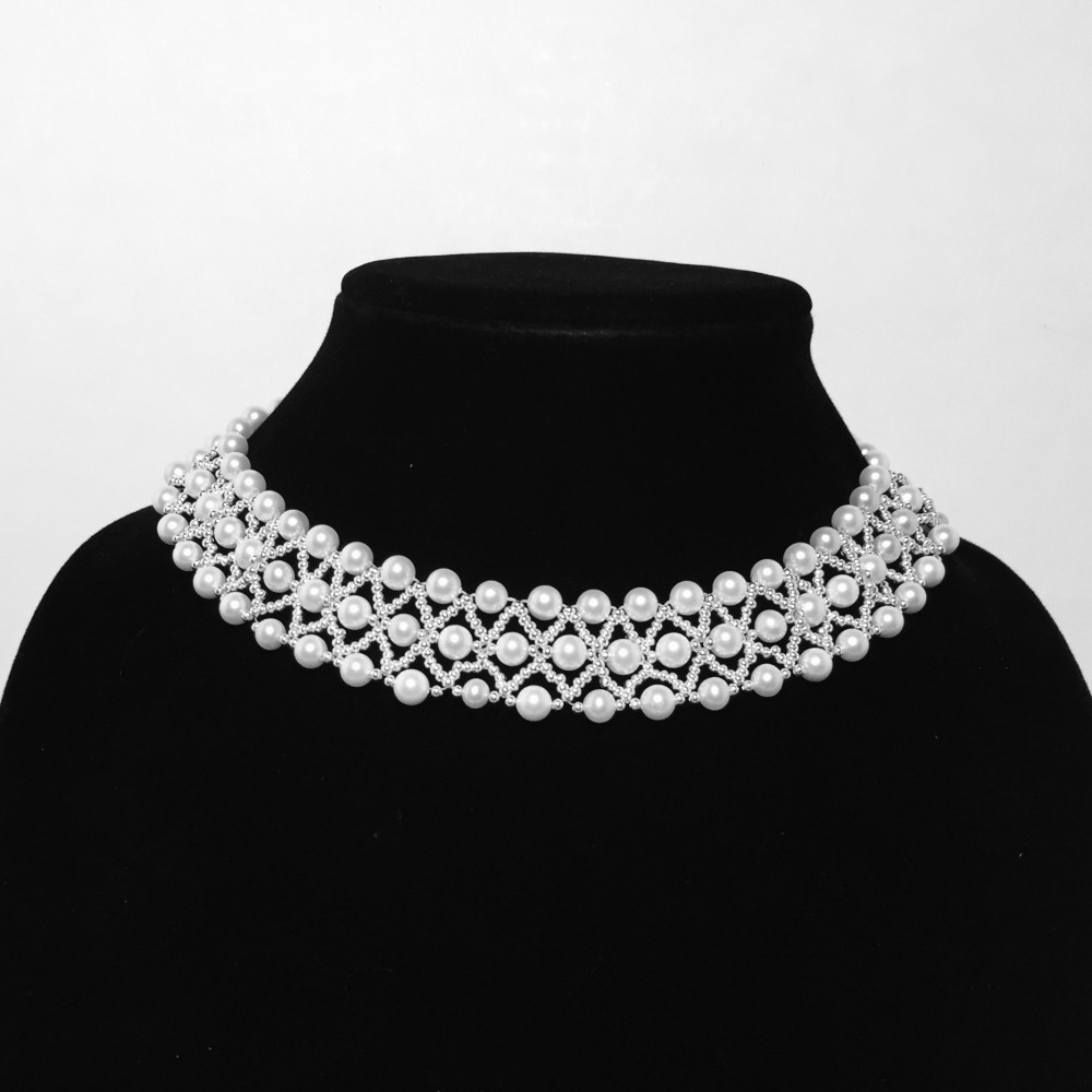 Pearl, Silver Seed Beads and Sterling Silver Necklace