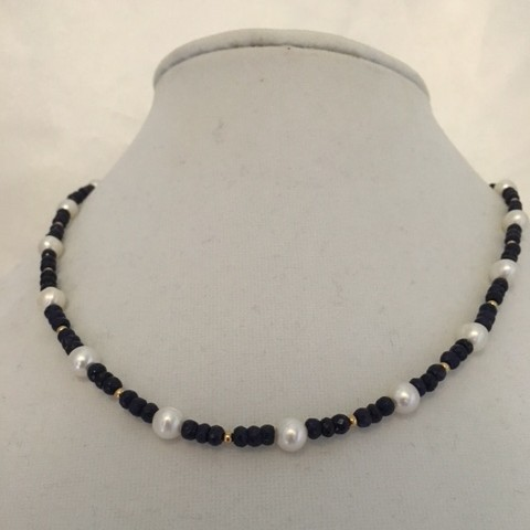 Sapphire and Pearl Necklace