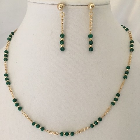 Emerald and Gold Necklace and Earrings Set