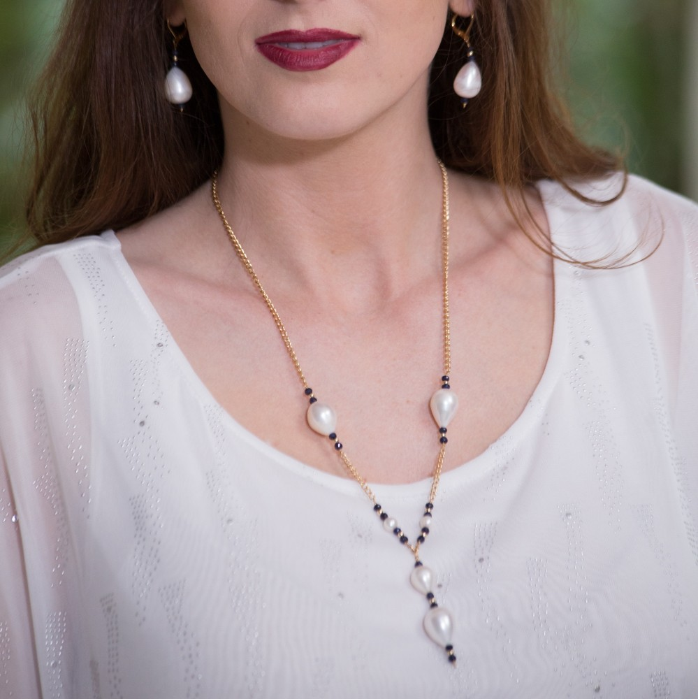 Sapphire and Pearl Necklace and Earrings Set