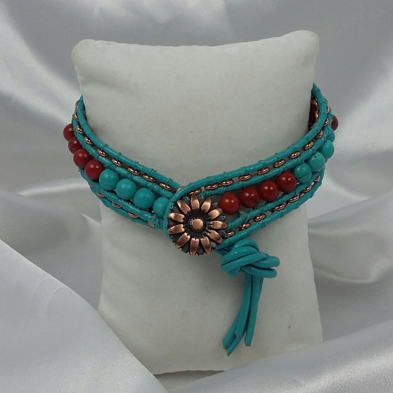 Magnesite, Coral and Copper Southwestern Bracelet