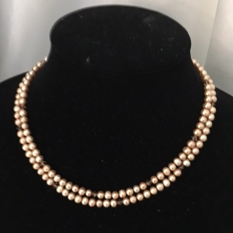 Fresh Water Pearls, Crystals and Gold Plate Necklace