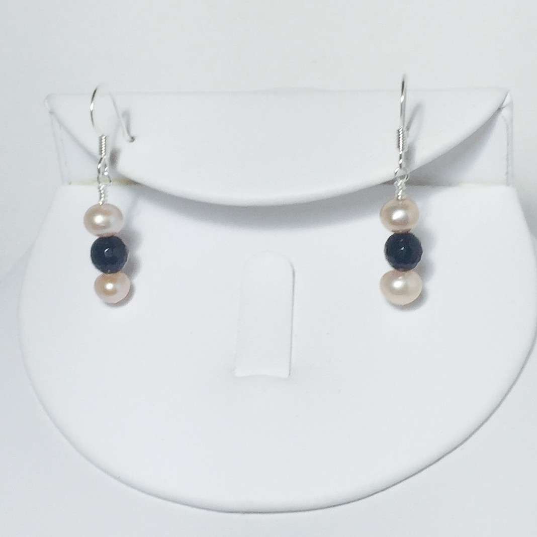 Pearl and Onyx Earrings