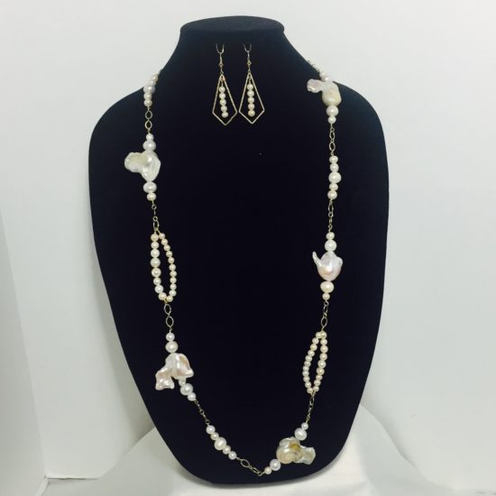 Pearl and Gold Filled Necklace and Earring Set