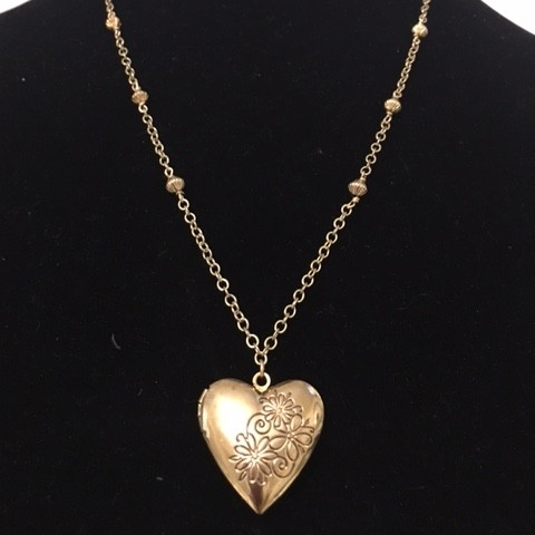Pewter and Gold Plate Locket Necklace