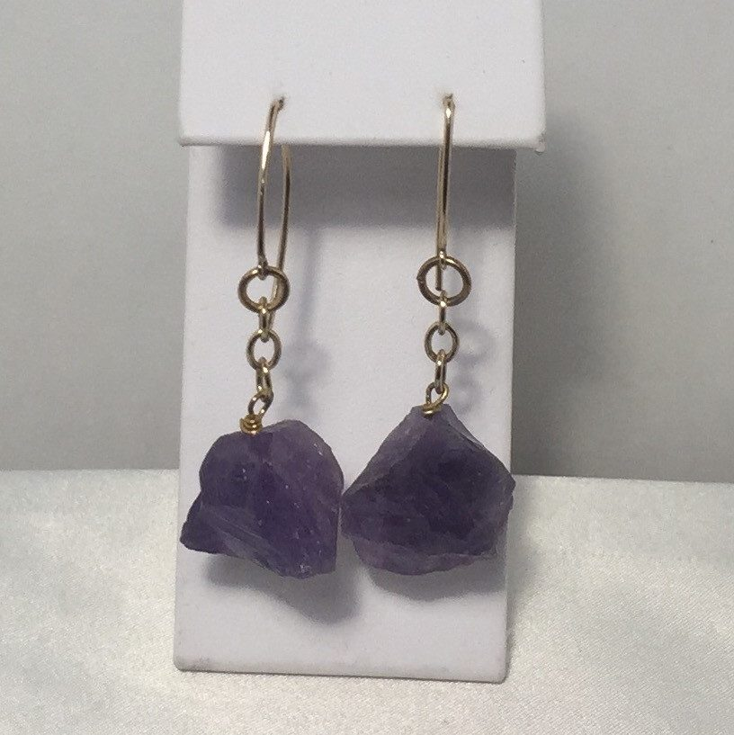 Amethyst and Brass Earrings