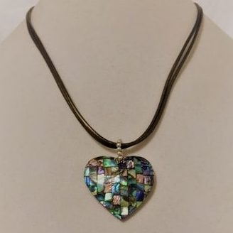 Abalone and Shell Leather Chain Necklace
