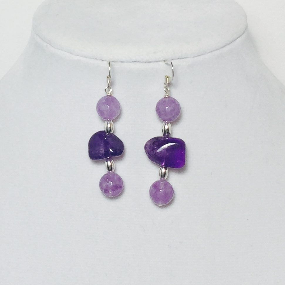 Amethyst, Agate, and Crystal Earrings