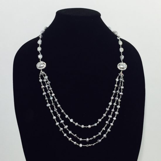 Pearls, Crystals and Silver Necklace