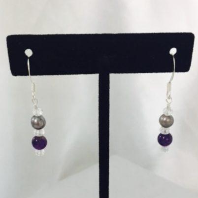 Amethyst, Pearl and Crystal Earrings