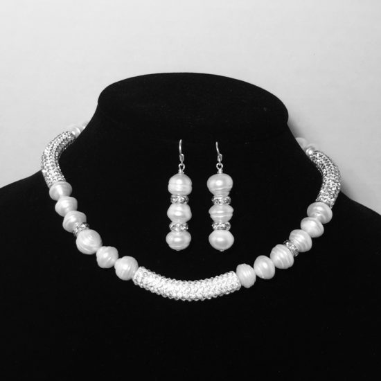 Pearl and Crystal Necklace and Earrings Set