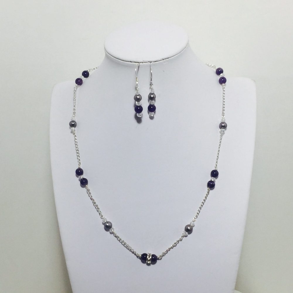 Amethyst, Crystal and Pearl Necklace and Earrings Set