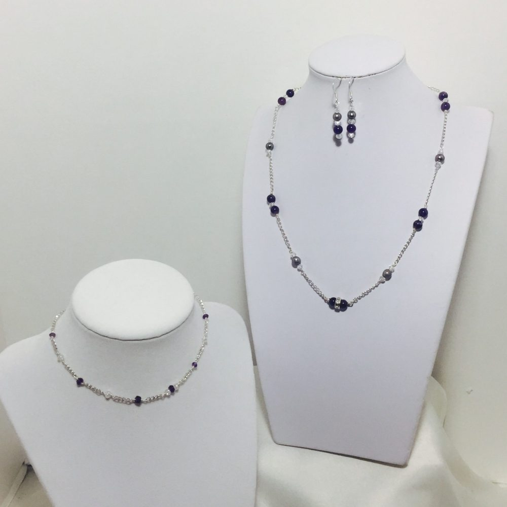 Amethyst, crystals and pearl necklace and earrings