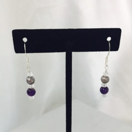 Amethyst, Crystal and Pearl Earrings