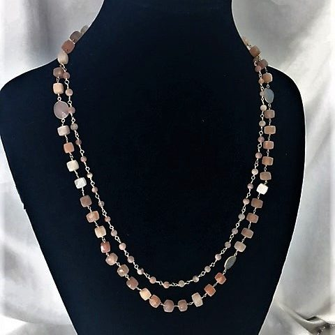 Opal, Moonstone and Gold Plate Necklace